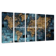 Novo Mapa do Mundo Impressão em Canvas / 5 Painel Home Decor Wall Art / Metal Color Canvas Art para Atacado