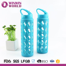 Top Selling Portable Straw Glass Water Bottle With Silicone Sleeve