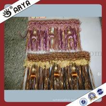 100% Polyester Belle Brush Fringe Hometextile Accessoires décoratifs Découpe en perles en bois