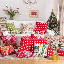 Serie impresa de la Navidad de la almohada de la lona de algodón