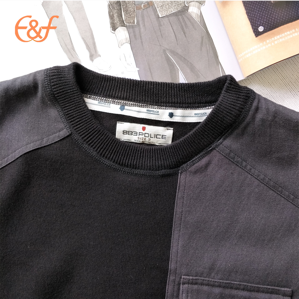 Round neck Shoulder Patches sweater