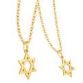 Oro auténtico plateado oro inoxidable 316L Collar de metal de Israel Encanto estrella de David colgante