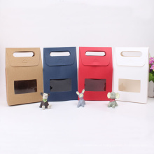 Sacolas de presente personalizadas coloridas para papel Kraft com janela