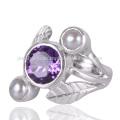 Fabrik Direktverkauf Natürliche Perle und Amethyst Edelstein Silber Ring