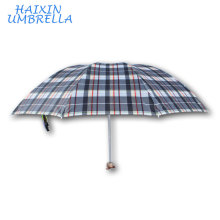 Nigeria EXCELLENT Brand Promotional 100% Polyester 309# Big Manual Operation 3 Folds Check Pattern Umbrella Manufactuer China