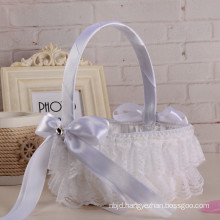 Whiite satin bowknot decoration lace accessories bridal wedding flower girl basket