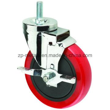 Roda de cassete de parafuso de PVC vermelho de 3 polegadas com travão lateral