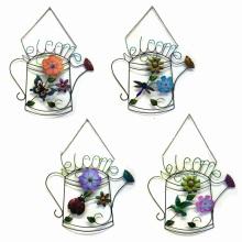"""Spezielle Stoff Blume dekoriert Metall Wand """"Willkommen"""" Garten Dekoration"""