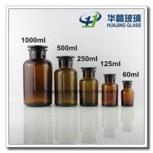 60ml 125ml 250ml 500ml 1000ml Wide Moth Amber Glass Bottle with Glass Stopper