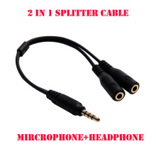 3.5mm Headphone Microphone Audio Splitter Cable 1 Male Plug to 2 Female Jacks Adapter microphone+headphone Cable for Cellphone
