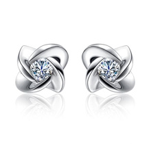 Princess Cut Diamond 925 Boucles d'oreilles en argent sterling pour femmes