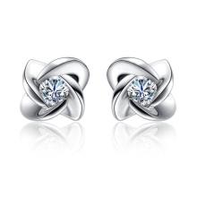 Princess Cut Diamond 925 Silver Stud Earrings Jóias para mulheres