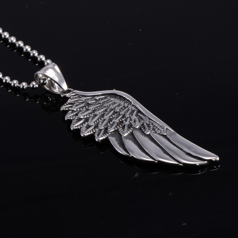 Stainless Steel Vintage Gothic Feather Angel Wing Pendants