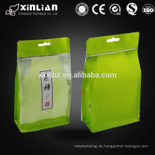 Quadratischer Bodenaufsatzbeutel Seitentasche Nahrungsmittelverpackungsbeutel / achtseitig versiegelter flacher Boden Heißdichtungsfensterbeutel für Teebeutel