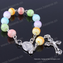 Colorful 8mm Resin Beads Catholic Prayer Beaded Rosary Bracelet