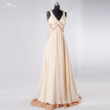 RSE762 Flowing Chiffon V-Neck Lace Backless Floral Long Free Shipping Prom Dress Gor Pregnant Girls