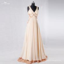 RSE762 Flowing Chiffon V-Neck Lace Backless Floral Longo Frete Grátis Prom Dress Gor Grávida Meninas