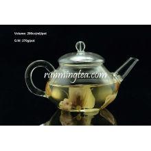 Borosilicato Tall Pot Flower Glass com aço inoxidável Inserir bico, 420ml / pote