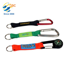 Aluminum Carabiner with Strap D-ring Carabiner Keychain Clip Black and Compass