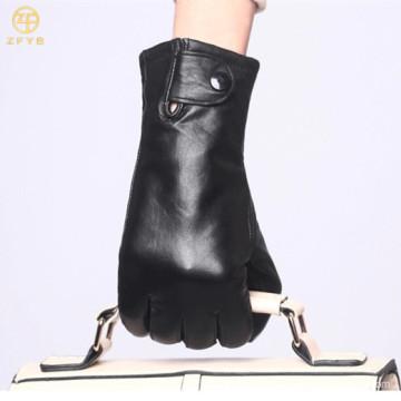 2016 Delgado fino negro de cuero de las mujeres guante de mano de moda