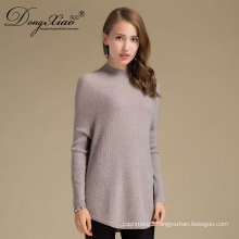 Factory OEM/ ODM High Quality Blank Round Neck Fitted Sleeve Cashmere Sweater Woman