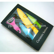 OL009-A colorful ceramic knife set with gift box packing