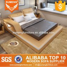 2017 meubles de chambre à coucher de luxe de style européen de haute qualité avec la lumière menée