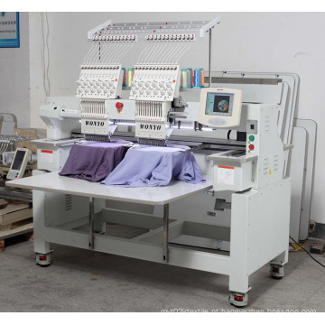 Máquina de bordar computador 2 cabeças 12 cores máquina de bordar de t-shirt
