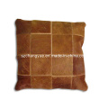 Funda de almohada de cuero natural de remiendo de piel de vaca