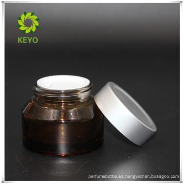 Botella de cristal de lujo de 30g botella de vidrio cosméticos tarro botella envase de maquillaje recipiente de vidrio redondo