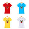 Tiger Logo Printing Fashion Women Wholesale Custom Cotton T Shirt