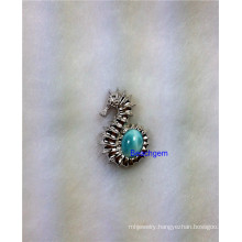 Jewellery-Natural Larimar Sterling Silver Pendant (P0215)