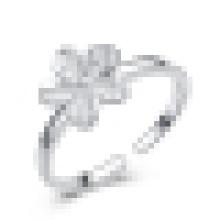 Anillo de apertura en forma de flor de plata de ley 925 para mujer