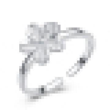 Anel de abertura em forma de flor de prata esterlina 925 feminino