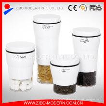 Alta qualidade em aço inoxidável Revestimento Jars Café Glass Fancy Food Armazenamento Swing Top Glass Jar