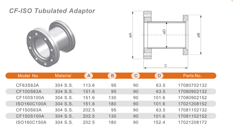 CF-ISO Tubulated Adaptor