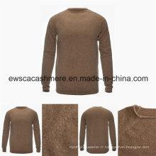 Chandail pur de cachemire de catégorie supérieure de couleur unie de col rond d'hommes avec le tricot de point