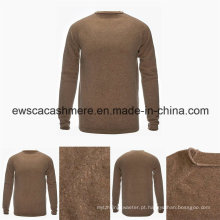 Camisola de caxemira pura do pescoço redondo da cor superior do pescoço dos homens com malha do ponto