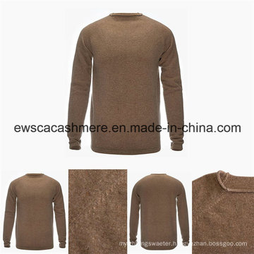 Men′s Round Neck Solid Color Top Grade Pure Cashmere Sweater with Stitch Knit