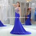 Chegada Nova Cor Azul Sem Mangas Frisado Longo Vestido De Noite Peixe Corte