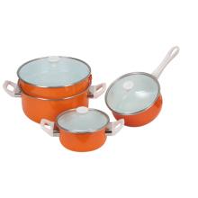 4pcs émail pot combiné deux pot de détresse et deux casserole de sauce avec des décalcomanies orange