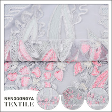 Wholesale polyester multicolor flower embroidery mesh lace tulle fabric
