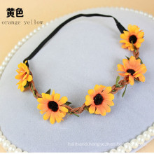 Sunflower Garland Crown Hair Elastic Headband (HEAD-350)