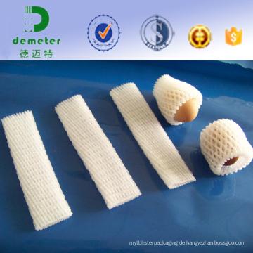 China Großverkauf der Fabrik-preiswerter Wegwerf-Polythene-ausdehnbarer Maschen-Sleeving für Apple, Pfirsich-Verpackung