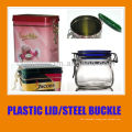 airtight can with plastic lid and steel ring buckle