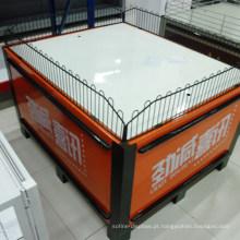 Tabela de dobramento do carrinho da promoção de vendas do supermercado do suporte da exposição