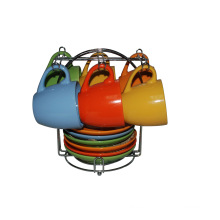 Taza y platillo con soporte de metal (91006-006)