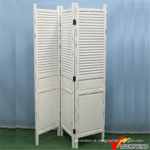 Shabby Chic Vintage Antique Branco Folding Solid Wood Screen Divisor Quarto