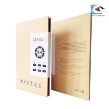 caja de empaquetado del papel marrón al por mayor del arte para el protector de cristal del teléfono