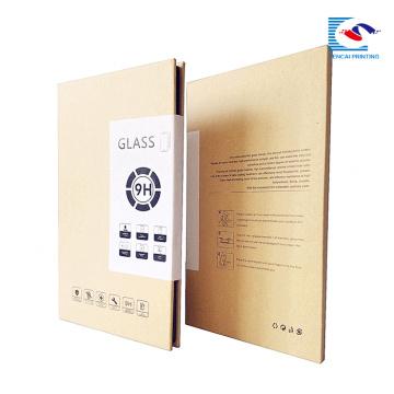 Boîte d'emballage de papier d'artisanat brun en gros pour protecteur de verre de téléphone